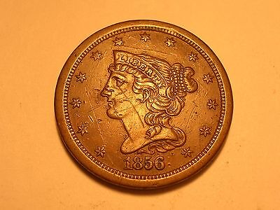 1856 Half Cent (XF, Lower Mintage, & Marks/Scratches)