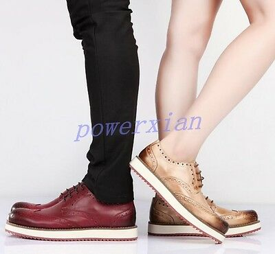 Mens Wing Tips Platform Casual Dress Creepers Brogue Retro Vintage Leather Shoes