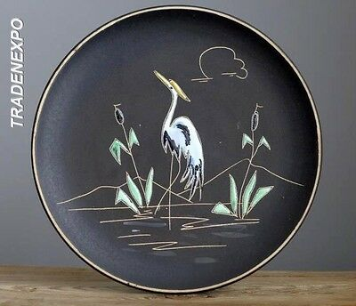 Vintage 1950's RUSCHA 717 REIHER Heron Wall Plate W.German Pottery Fat Lava Era1