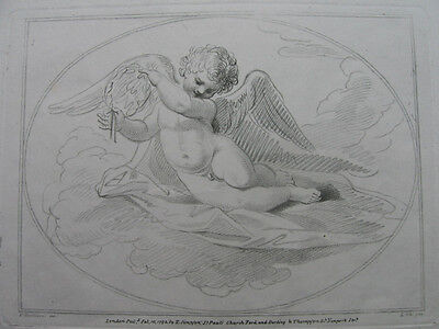 Punktierstich von L. Schiavonetti: Putto 1793/Engraving Winged Putto Bartolozzi