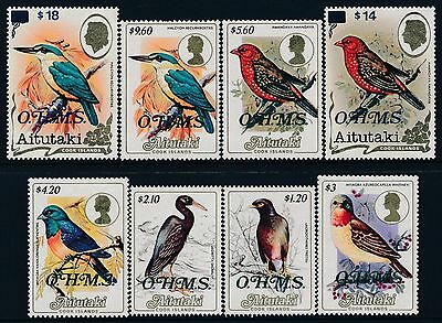 1986 Aitutaki Birds Ohms Official Overprints Set Of 8 Fine Mint Mnh Sgo30-So37