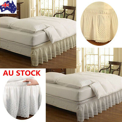Elastic Soft Lace Ruffle Pleated Bed Skirt /Valance Wrap-Around Queen King Size