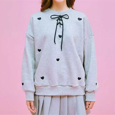 Women Love Heart Embroidered O Neck Hoodie Cross Lace Up String Long Sleeve