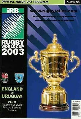 ENGLAND v URUGUAY RUGBY WORLD CUP 2003 PROGRAMME - MATCH 39