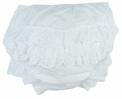 Baby Girls Frilly Pants White 100% Cotton Dress Pants 0-6M 6-12M and 12-18M