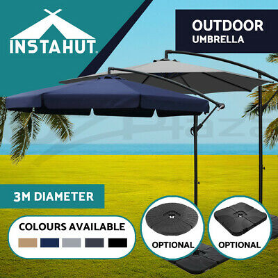 3M Garden Outdoor Umbrella Cantilever Yard Deck Patio Market Navy Black Beige