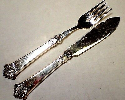 Magnus Aase 830S Silver Fish Fork & Knife Anitra Pattern, Bergen, Norway