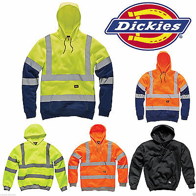 Dickies Hi Vis Hooded Sweatshirt High Visibility Hoodie Safety Work Hoody Jacket