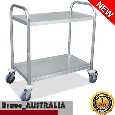 Stainless Steel Kitchen Trolley Serving Cart 2 Tier Dining Food Utility Catering