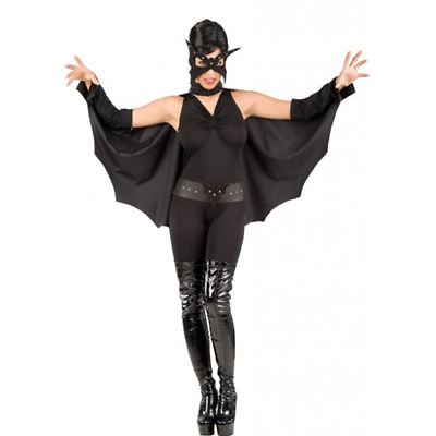 Mantello Bat Girl In Dainetto Con Manicotti, Maschera Cintura Costume Halloween