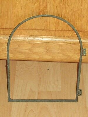 "UNUSUAL SOLID BRASS ARCHED CLOCK / DISPLAY CASE DOOR FRAME HINGED 9 1/2"" x 7"""