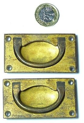 Pair Vintage/antique Brass Campaign Military Ship Chest/drawer/door Handles