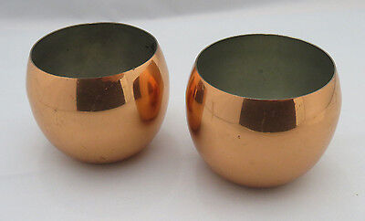 COPPERCRAFT GUILD Copper Roly Poly Punch Cups or Miniature Bowls - lot of 2