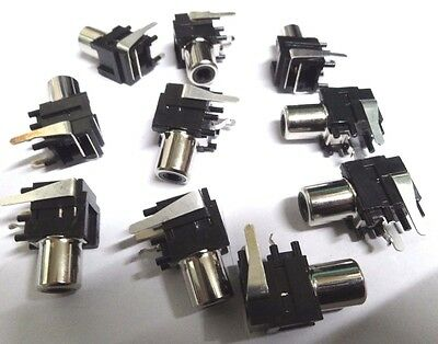 10 right angle pcb mount phono RCA sockets