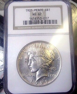 1921 Peace Silver Dollar Ngc Ms 62