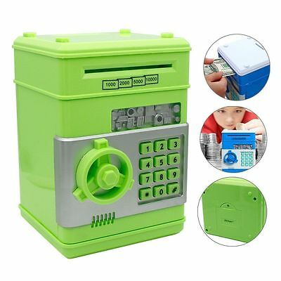 New Money Safe Saving Box Cash Coin Piggy Bank Can Mini ATM Kids Toys Gift Green
