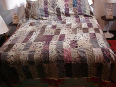 Antique 1920's hand made quilt patchwork from old velvet curtains brocade large