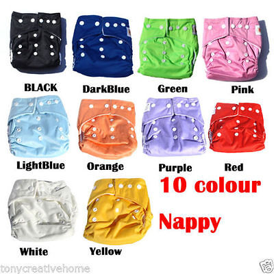 10pcs+10 INSERTS Adjustable Reusable Baby Washable Cloth Diaper Nappies bulk