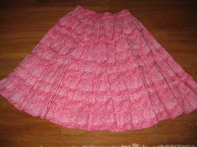 Square Up Pink Print Square Dance Country Western Tiered Skirt Size XXL EUC