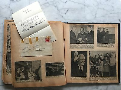 Dwight D. Eisenhower Scrapbook w Letter from White House Signed Mamie Eisenhower