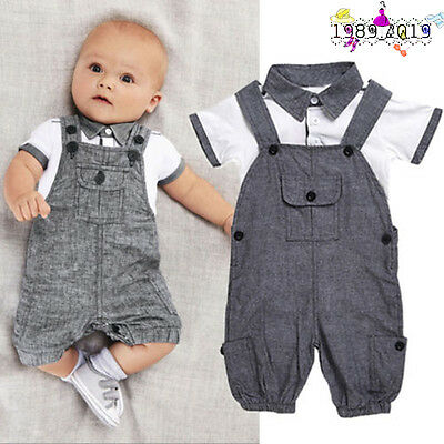 2PCS Set Newborn Baby Boy Tops Bib Pants Jumpsuit Gentleman Outfit Clothe E