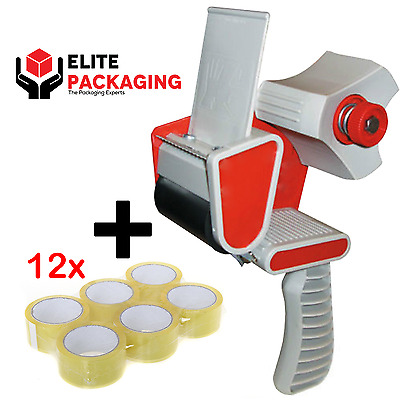 WAREHOUSE TAPE GUN DISPENSER + 12 ROLLS OF CLEAR 48MM x 66M PARCEL PACKING TAPE