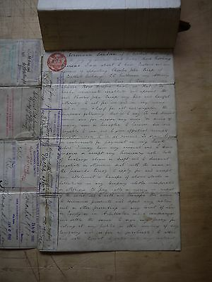 (LF34) AMAZING 1895 Mining Power of Attorney Document 82 Mining Stamps & Seals
