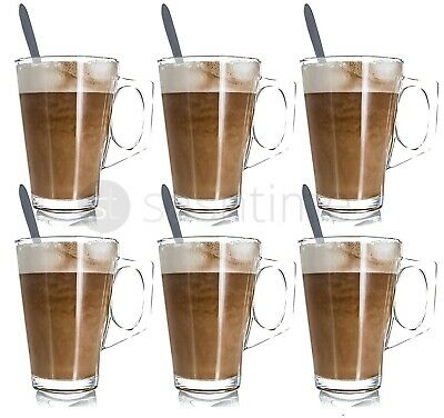 6 x 240ML Latte Glasses Tea Coffee Cappuccino Glass Cups Mug Shot Drink Spoons