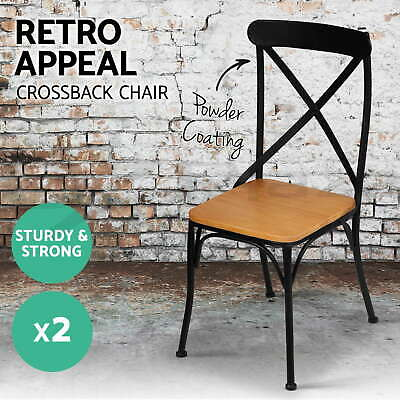 2x BISTRO Dining Chair Metal Industrial Rustic Cross Back French Provincial