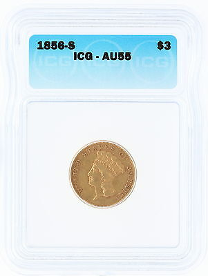 1856-S ICG AU55 $3 Princess Head Three Dollar