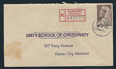 1939 Curacao Registered Cover - Willemstad to Kansas City, Missouri