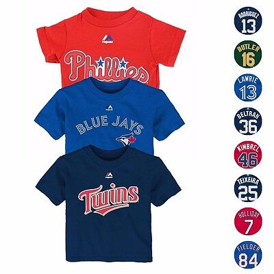 MLB Majestic Faux Stitch Name & Number T-Shirt Collection Infant SZ (12M-24M)