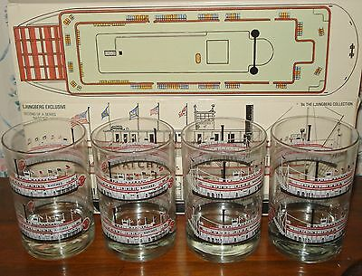 4 Vintage New Orleans Natchez Paddlewheeler Boat Glasses 1984 Ljungberg w / Box
