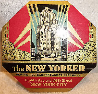 1920's Large Art Deco New Yorker Hotel New York City Luggage Label UNUSED
