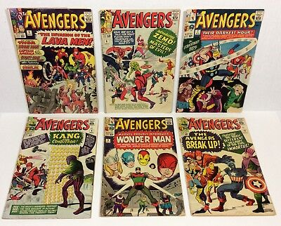 Avengers #5,6,7,8,9,10 (6-issue Key RUN/LOT) 1964 Marvel Comics