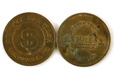 Lot Of Two Brass Car Wash Tokens