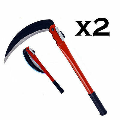 2 X  Steel Grass Cutter Sickle Small Scythe Folding Handle Weed Slasher 233mm