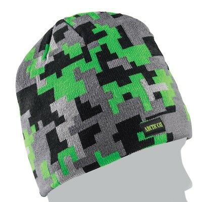 Arctic Cat Digital Camo Winter Beanie Hat – Gray with Black & Lime – 5263-061