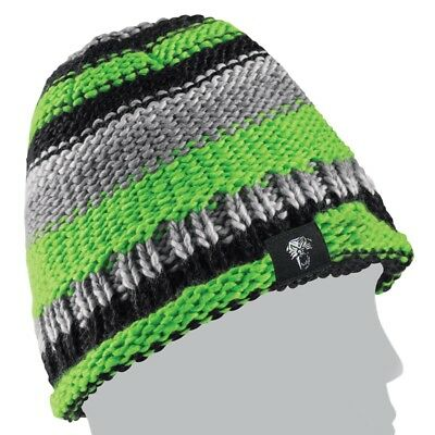Arctic Cat Team Arctic Knit Stripes Winter Beanie Hat – Gray & Lime – 5263-063