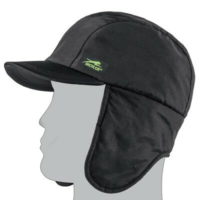 Arctic Cat Aircat Fleece Lined Nylon Earflap Winter Beanie Hat - Black 5263-050