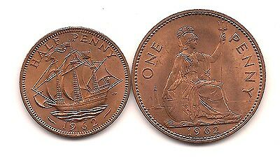 1962  Great Britain Penny & Half Penny--Loads of Mint Red !!