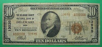 1929 $10. T2  DELAWARE COUNTY NATIONAL BANK OF DELAWARE OHIO OH Charter # 13535