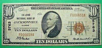 1929 $10. T1 AYERS NATIONAL BANK OF JACKSONVILLE ILLINOIS IL Charter # 5763
