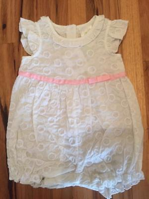 New DYMPLES Baby Girls Romper White & Pink Embroidered Cotton Size 00 000