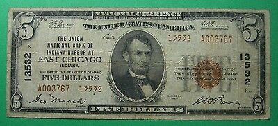 1929 $5. T2 UNION NATIONAL BANK INDIANA HARBOR EAST CHICAGO IN Charter # 13532