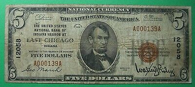 1929 $5. T1 UNITED STATES NATIONAL BANK INDIANA HARBOR EAST CHICAGO IN Ch12058