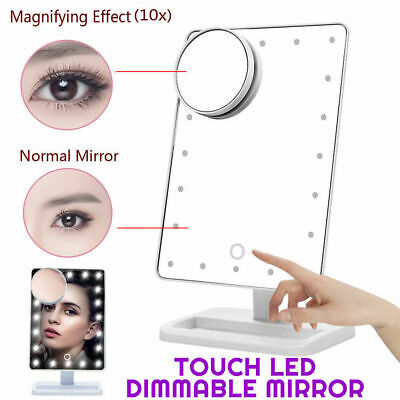 10X Magnifier LED Touch Screen Makeup Mirror Portable 20 LEDs Makeup Cosmetic