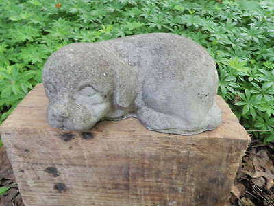 "Vintage Cement 8"" Long Puppy Dog Sleeping Garden Statue Weathered Concrete"