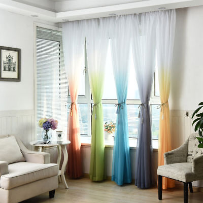 1pc Window Curtain Valances Tulle Voile Chiffon Door Drape Sheer Scarf Decor