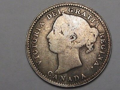 1891 (Large 9 - 22 L Variety) Canadian 10 Cent Coin. Canada 10¢.  #10